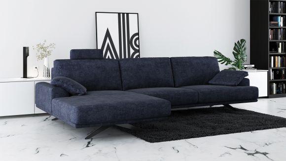 Canapea de colt cu sezlong Terni Italvelluti Navy Blue, stanga