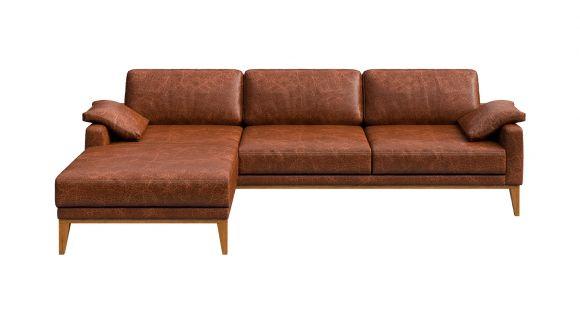 Canapea de colt cu sezlong Calini piele Cerato Cognac, stanga