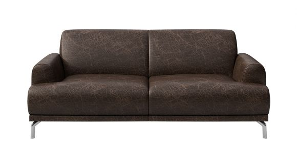 Canapea liniara 2 locuri Pavia piele Cerato Dark Brown Vintage