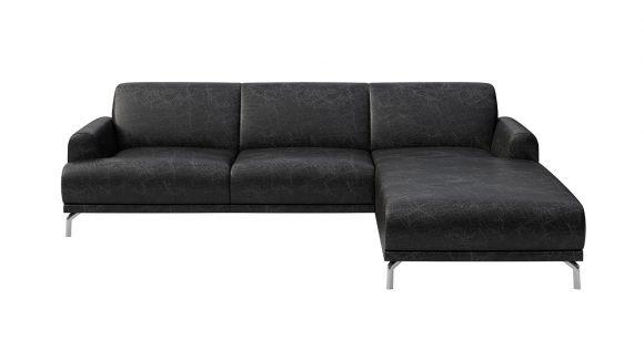 Canapea de colt cu sezlong Pavia piele Cerato Black Vintage, dreapta