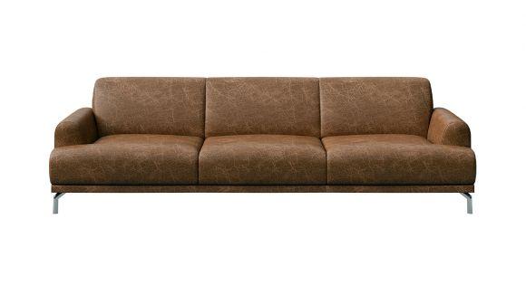 Canapea liniara 3 locuri Pavia piele Cerato Brown Vintage