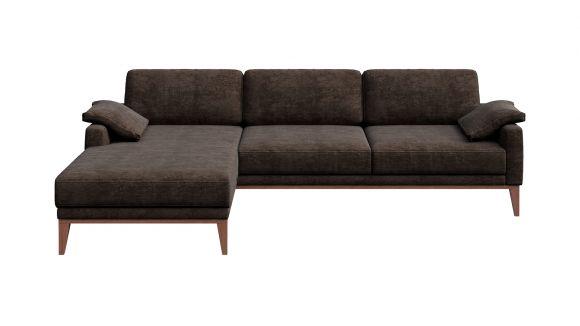 Canapea de colt cu sezlong Calini Italvelluti Dark Brown, stanga