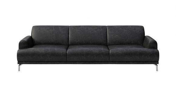 Canapea liniara 3 locuri Pavia piele Cerato Black Vintage