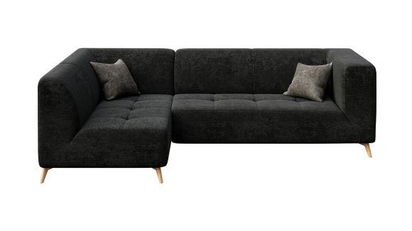 Canapea de colt cu sezlong Asti Italvelluti Dark Grey, stanga