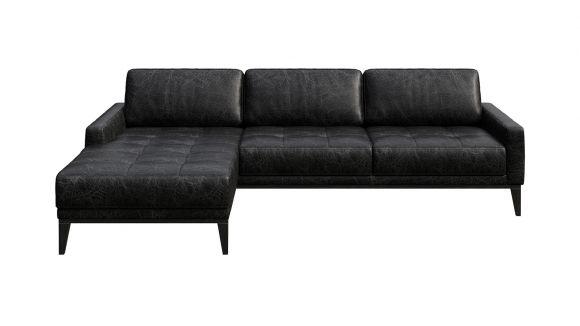 Canapea de colt cu sezlong Calini Button piele Cerato Black Vintage, stanga