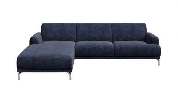 Canapea de colt cu sezlong Pavia Italvelluti Navy Blue, stanga