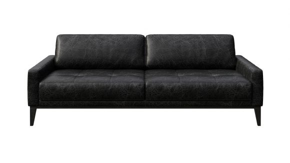 Canapea liniara 3 locuri Calini Button piele Cerato Black Vintage