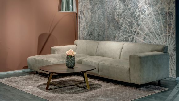 Canapea de colt Vesta cu sezlong textil Light Beige,stanga