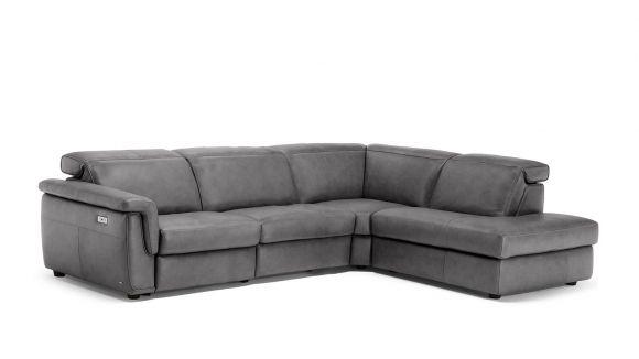 Canapea de colt Curioso cu recliner Brezza Grey, dreapta