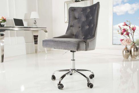 Scaun de birou Victorian Silver Grey Velvet